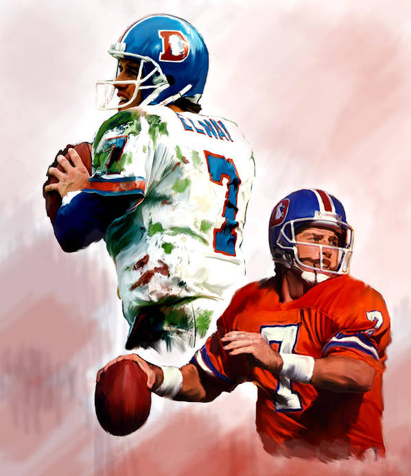 John Elway Collectibles Poster featuring the painting Power Force John Elway by Iconic Images Art Gallery David Pucciarelli
