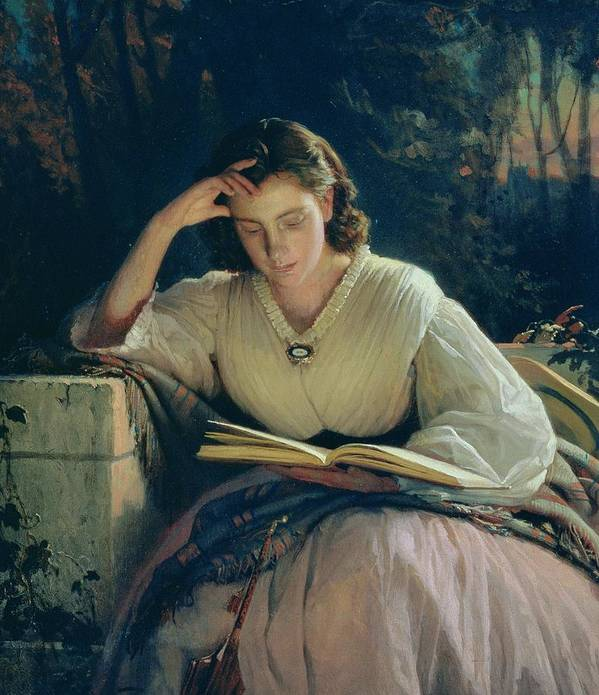 Female Poster featuring the painting Reading by Ivan Nikolaevich Kramskoy