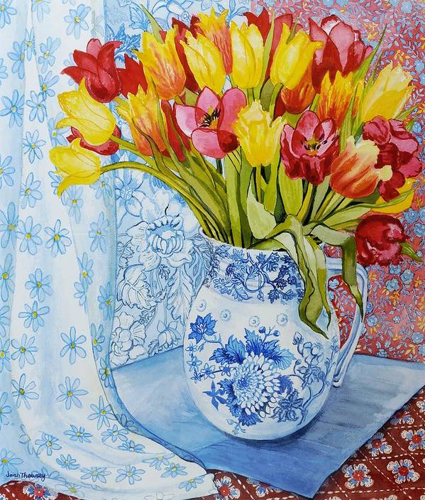 Colourful; Flowers; Floral Pattern; Patterned; Blue And White China; Still Life; Vibrant Poster featuring the painting Red And Yellow Tulips In A Copeland Jug by Joan Thewsey