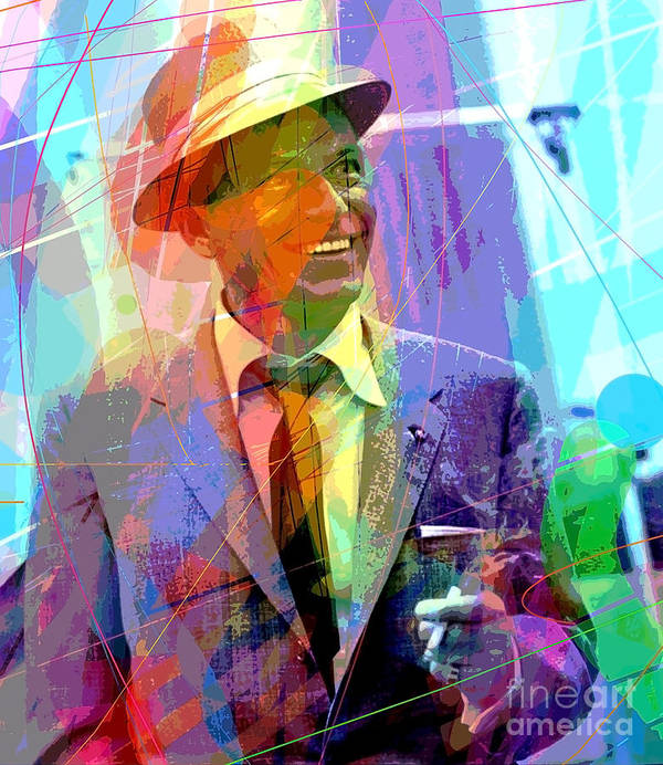 Frank Sinatra Poster featuring the painting Sinatra Swings by David Lloyd Glover