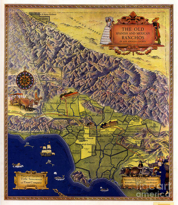 Pd Poster featuring the painting Spanish And Mexico Ranchos by Pg Reproductions