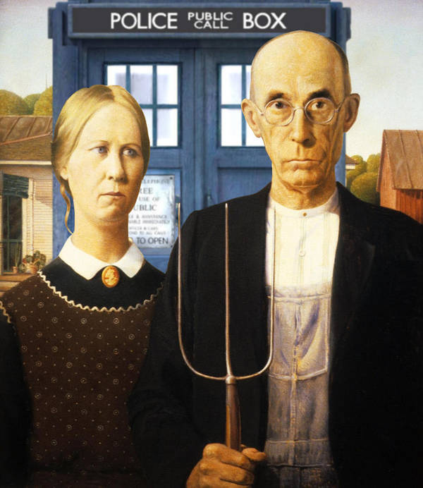 American Gothic Poster featuring the painting Tardis V Grant Wood by GP Abrajano
