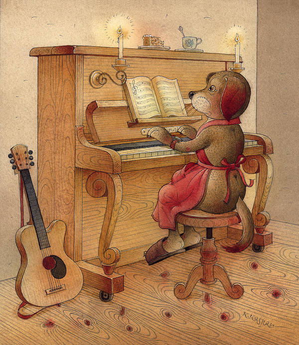Music Piano Dog Guitar Brown Evening Poster featuring the painting The Dream Cat 21 by Kestutis Kasparavicius