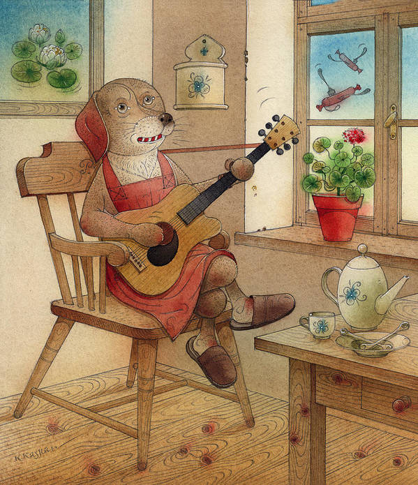 Dog Song Guitar Music Breakfast Kitchen Dream Brown Red Window Poster featuring the painting The Dream Cat 22 by Kestutis Kasparavicius