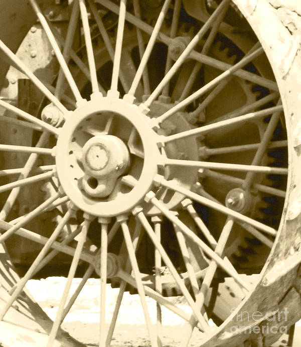 Thresheree Poster featuring the photograph Tractor Wheel by Debbie Hart