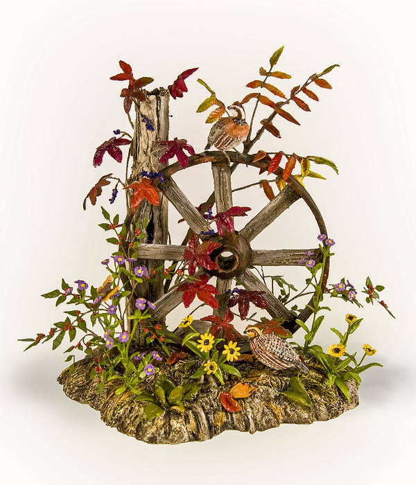 Nature Poster featuring the sculpture Wagon Wheel And Quail by Mary Mcgrath