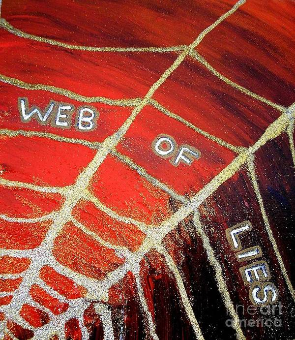 Web Of Lies Poster featuring the painting Web Of Lies by Karen Jane Jones