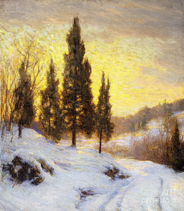 American Poster featuring the painting Winter Sundown by Walter Launt Palmer