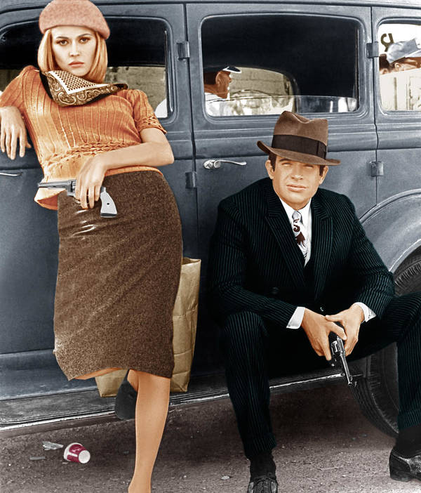 1930s Car Poster featuring the photograph Bonnie And Clyde, From Left Faye by Everett