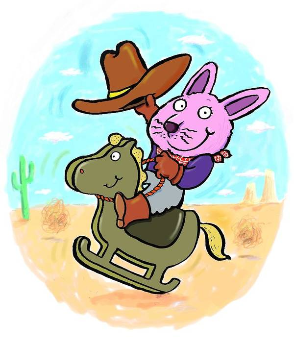 Scott Nelson Poster featuring the digital art Bunny Cowboy by Scott Nelson