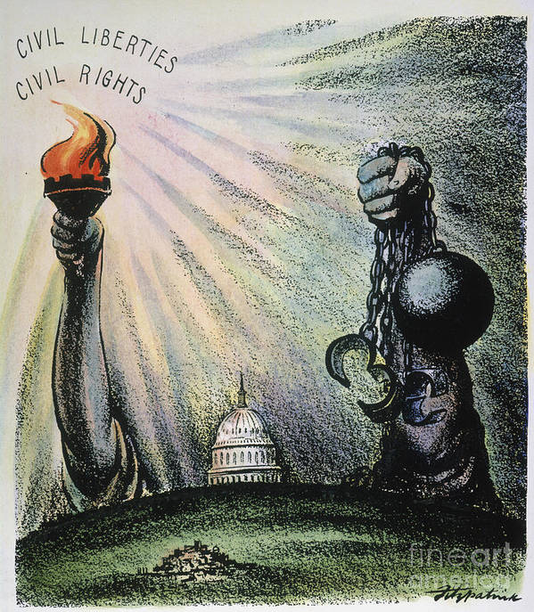 1953 Poster featuring the photograph Cartoon: Civil Rights 1953 by Granger