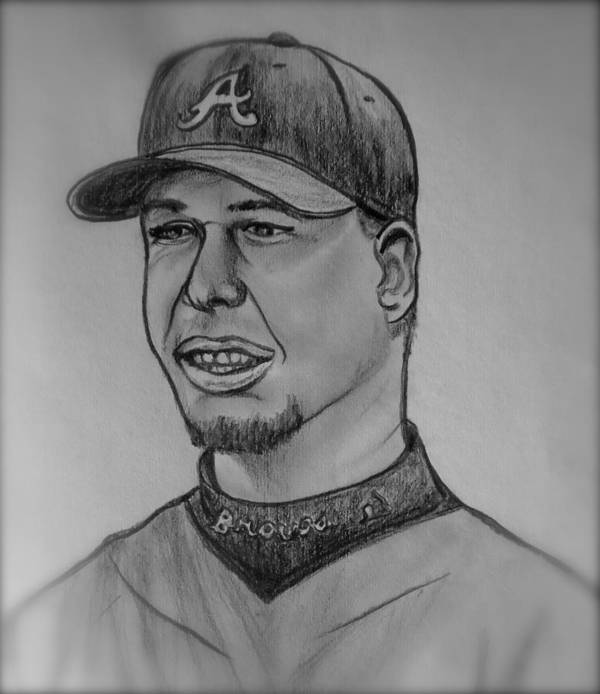 Chipper Jones Poster featuring the drawing Chipper Jones by Pete Maier