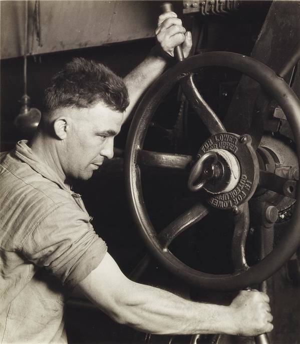 Industry; Industrial; Design; Pennsylvania Rubber; Control; Wheel; Calendar; Making; Auto; Motor; Tire; Tires; Tyres; 1920s; 20s; Twenties; Male; Portrait; Mechanic; Work; Worker; Working; Labor; Laborer; Effort; Production; Energy; Direction; Turning; Strong; Strength; Power; Manufacture; Photography; Black And White Photograph; B/w Photo Poster featuring the painting Making Auto Tires by LW Hine