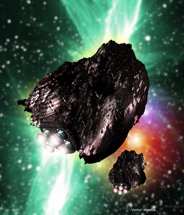 Asteroid Poster featuring the photograph Rocket-controlled Asteroids by Victor Habbick Visions