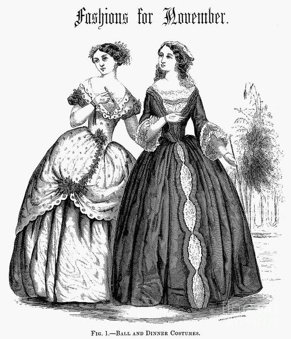 1851 Poster featuring the photograph Womens Fashion, 1851 by Granger