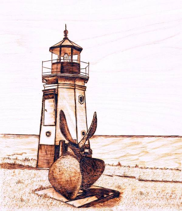 Lighthouse Poster featuring the pyrography Vermilion Lighthouse by Danette Smith