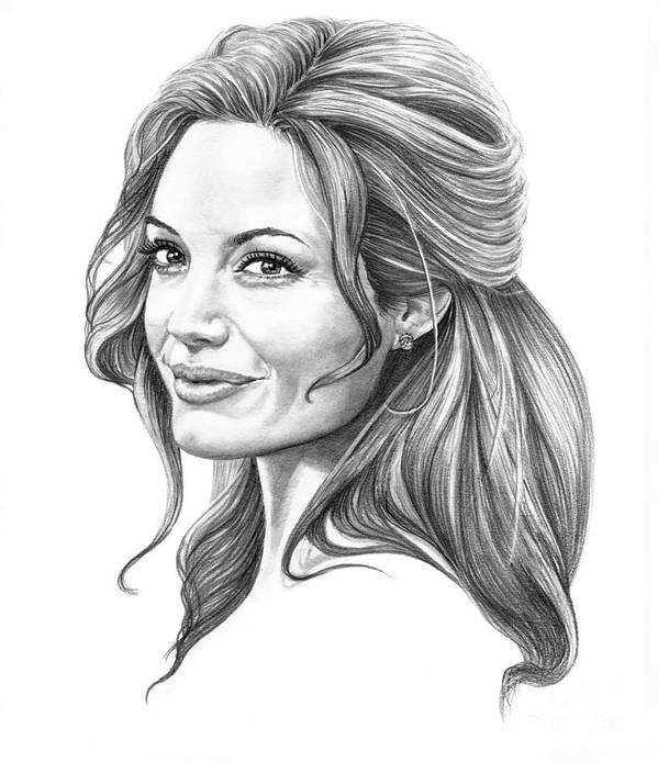 Drawing Poster featuring the drawing Angelina Jolie by Murphy Elliott