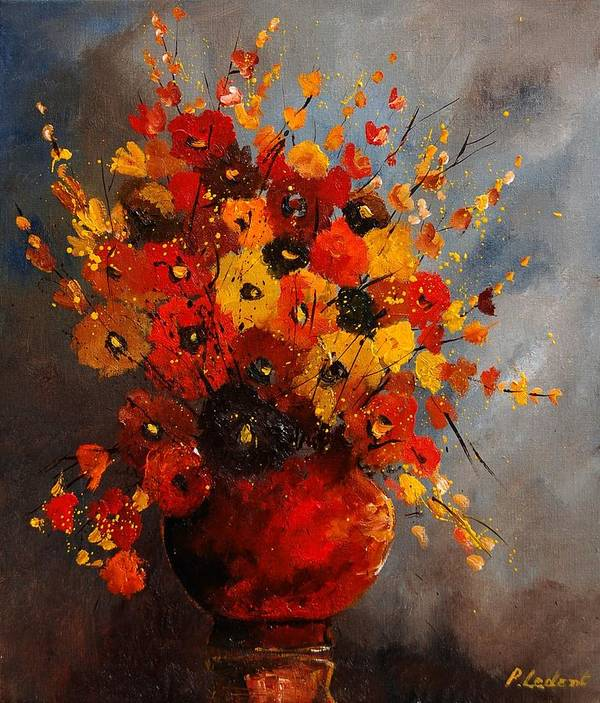 Flowers Poster featuring the painting Bunch 0708 by Pol Ledent