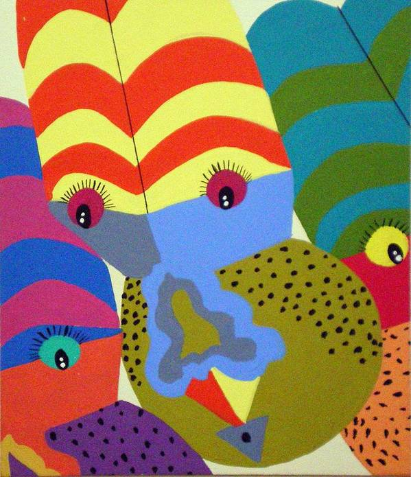 Clown Poster featuring the painting Clowns by Tammera Malicki-Wong