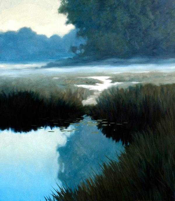 Landscape Poster featuring the painting Lifting Fog by Kevin Lawrence Leveque