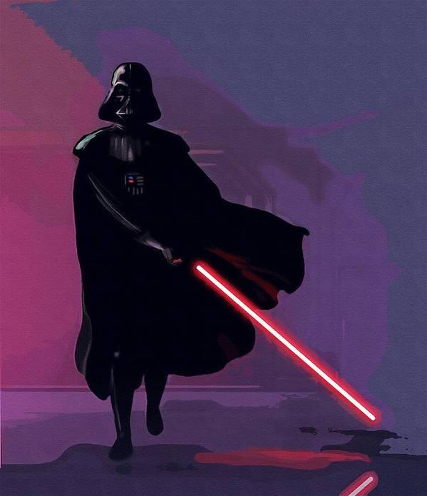Star Wars Darth Vader Poster featuring the digital art Original Star Wars Poster by Larry Jones