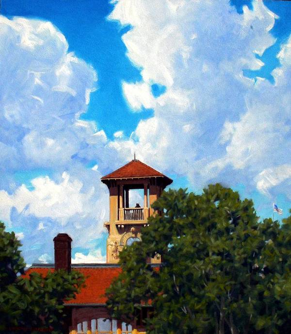 Sky Poster featuring the painting Bell Tower by Kevin Lawrence Leveque
