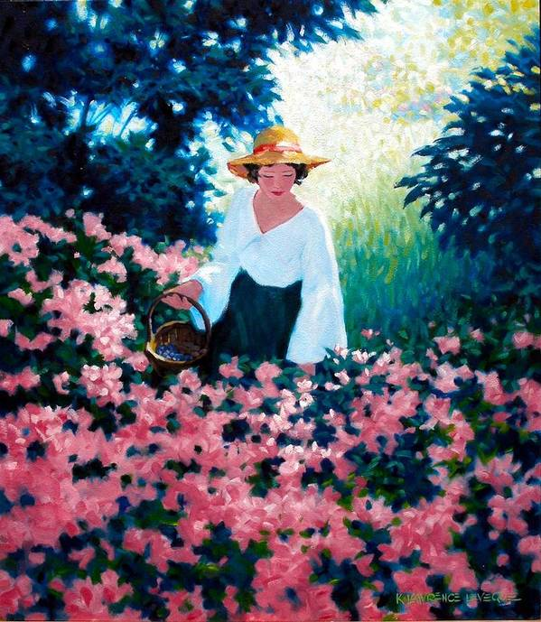 Woman Poster featuring the painting Mulberry Time by Kevin Lawrence Leveque