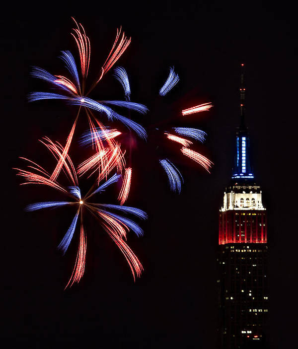 Empire State Building Poster featuring the photograph Red White And Blue by Susan Candelario