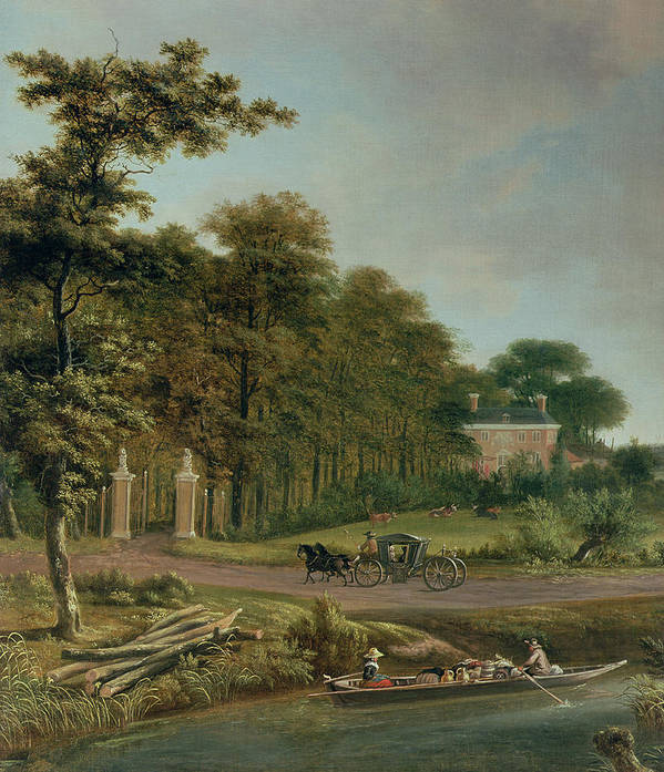 Country Poster featuring the painting A Country House by J Hackaert