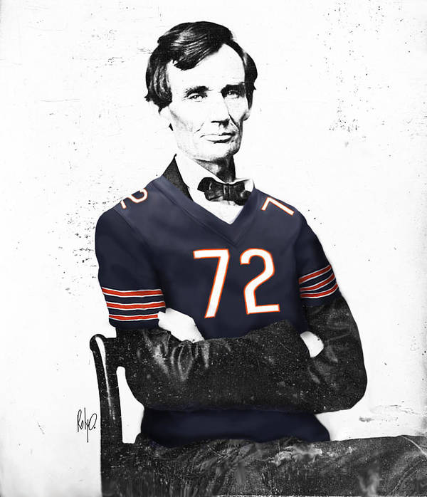Abe Lincoln Drawings Drawings Poster featuring the digital art Abe Lincoln In A William Perry Chicago Bears Jersey by Roly O