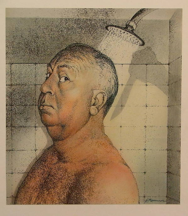 Portrait Poster featuring the painting Alfred Hitchcock The Shower by Gary Kaemmer