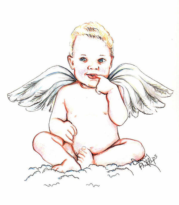 Angel Poster featuring the mixed media Angel Baby by Denny Phillips