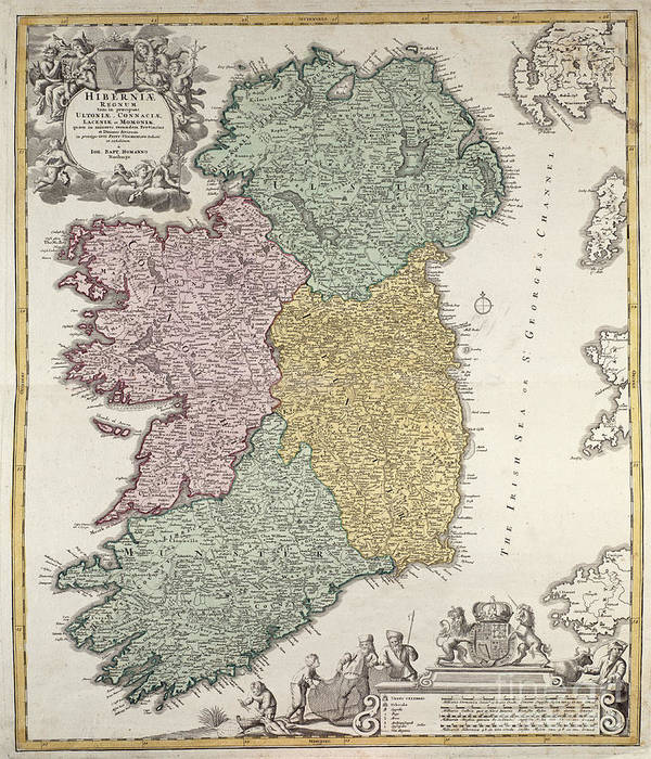 Map Of Ireland Poster.Antique Map Of Ireland Showing The Provinces Poster By Johann