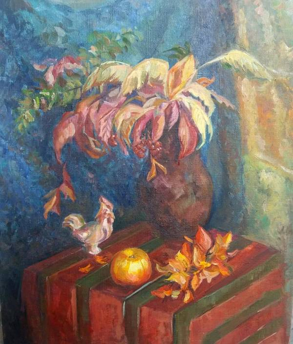 Autumn Poster featuring the painting Autumn Still Life by Kateryna Kostiuk-Shostka