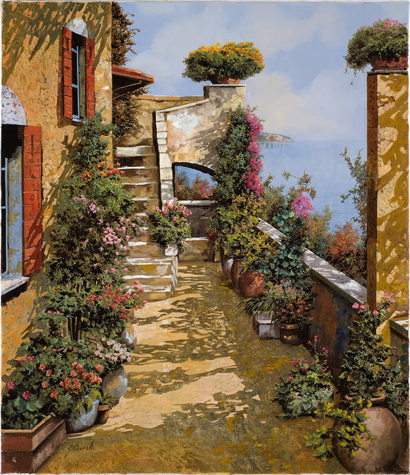 Terrace Poster featuring the painting Bello Terrazzo by Guido Borelli