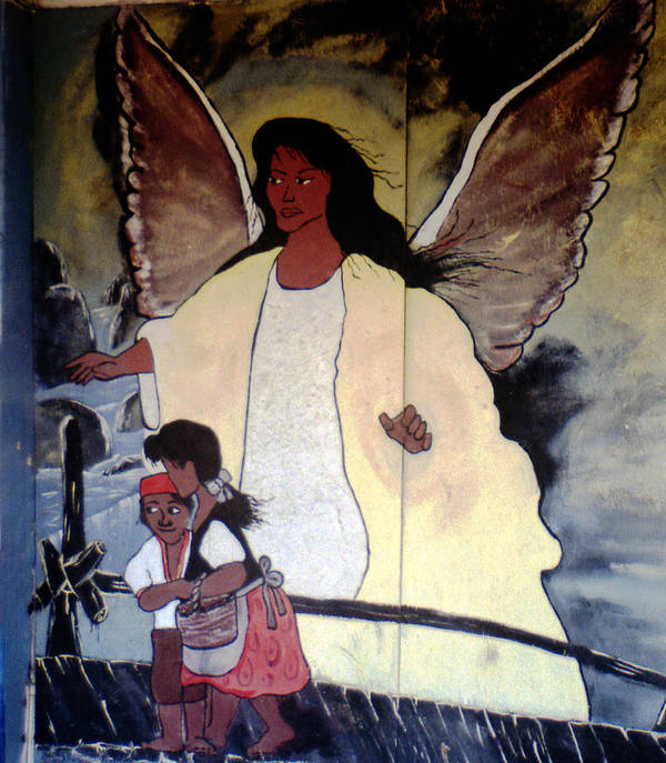 Louisiana Poster featuring the photograph Black Guardian Angel Mural by Doug Duffey