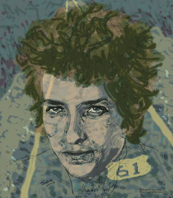 Bob Dylan Poster featuring the painting Bob Dylan's Highway 61 by Suzanne Gee