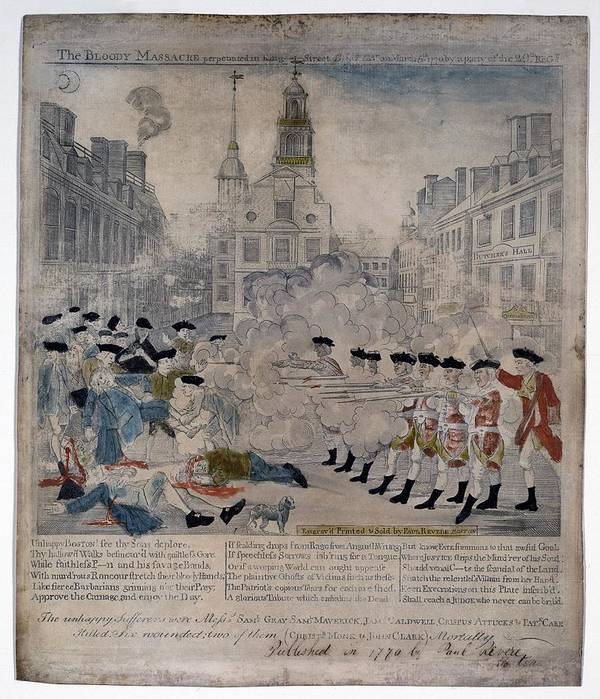 Historical Poster featuring the photograph Boston Massacre. British Troops Shoot by Everett