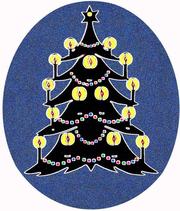 Christmas Poster featuring the digital art Candlelit Christmas Tree by Nancy Mueller