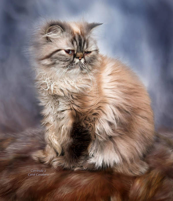 Cat Poster featuring the mixed media Cattitude 2 by Carol Cavalaris