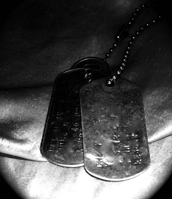 Dog Tags Poster featuring the photograph Dog Tags In Black And White by Aimee Galicia Torres