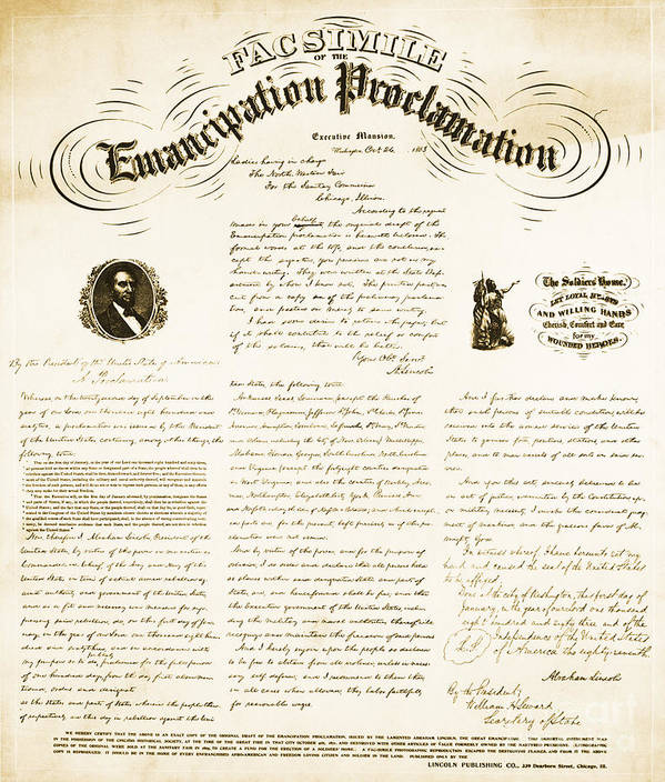 Emancipation Proclamation Poster featuring the photograph Emancipation Proclamation by Photo Researchers