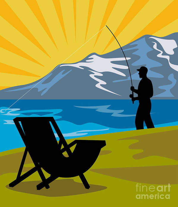 Fly Fisherman Poster featuring the digital art Fly Fishing by Aloysius Patrimonio