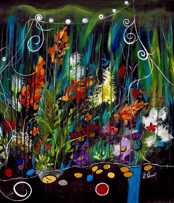 Abstract Poster featuring the painting Garden Of Wishes by Ruth Palmer