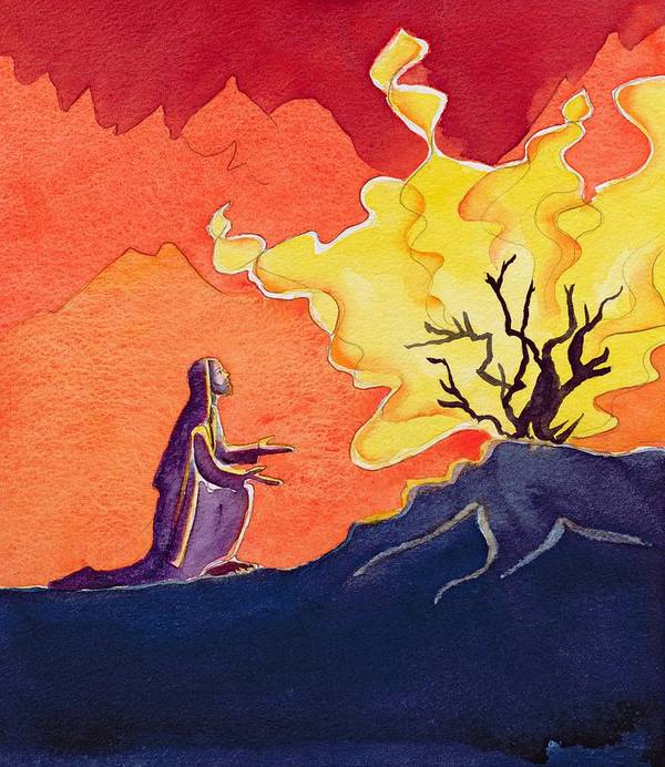 Revelation; Prophet; Fire; Flames; Biblical; Catholic; Catholicism; Praying; Pray; Burning; Kneel; Kneeling; Flame; Bible; Spiritual; Religion; Religious; Bush Poster featuring the painting God Speaks To Moses From The Burning Bush by Elizabeth Wang
