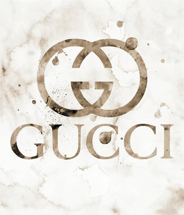 7d0d0c1794 Gucci Logo Beige 1 Watercolor 6 Poster by Del Art