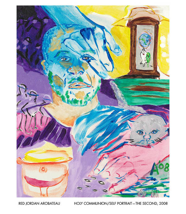Portrait Poster featuring the painting Holy Communion Self Portrait The Second by Red Jordan Arobateau