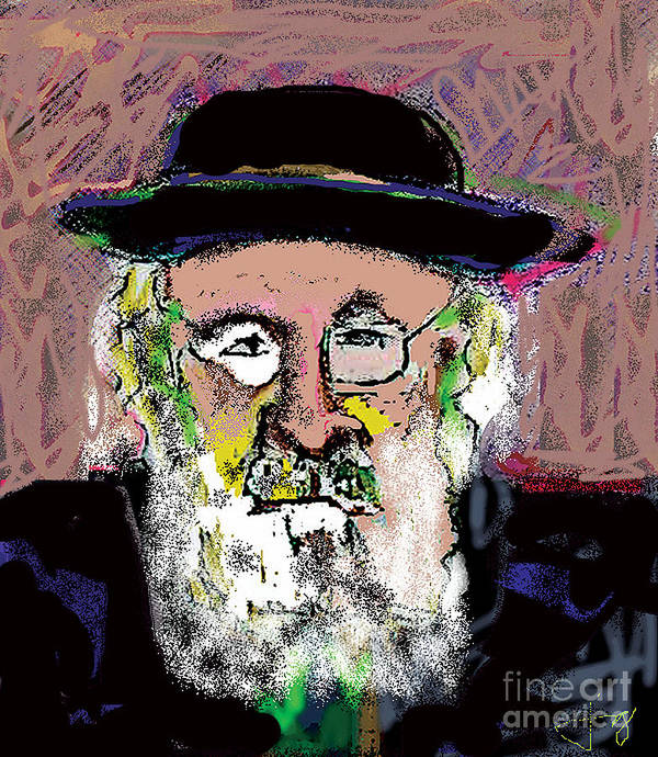 Portrait Poster featuring the mixed media Jerusalem Man No. 2 by Joyce Goldin