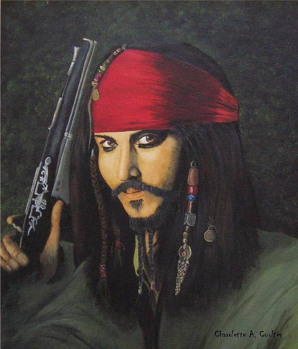 Portrait Poster featuring the painting Johnny Depp- Captain Jack by Charolette A Coulter