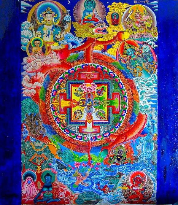 Spirituality Poster featuring the painting Karuna Mandala by Padmananda